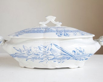 English Transferware Dish, Covered, Blue and White, Thanksgiving Table, Old Hall Porcelain Works, Lily, Dandelion, Roses, Arts and Crafts
