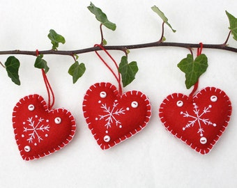 Felt Christmas Heart ornaments, Handmade red and white snowflake hearts, Red and white ornaments, Scandinavian embroidered heart decorations
