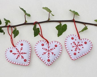Felt heart Christmas ornaments, Handmade red and white snowflake hearts, Scandi Christmas ornaments, Scandinavian winter wedding favours.