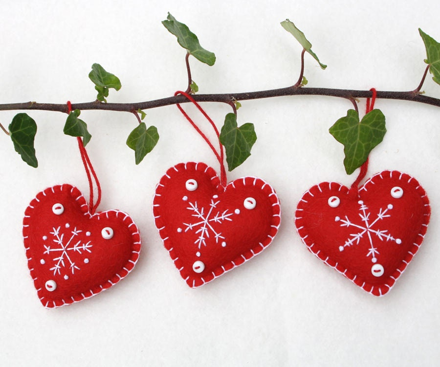 Felt Christmas Heart ornaments Handmade red and white
