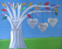 Tin Anniversary Gift - 10 Year Anniversary Gift - Family Tree - Personalized - Engraved Names and Wedding Date - Aluminum