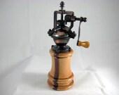 Pepper Mill Antique Style Handmade Cherry Wood Copper Mechasim