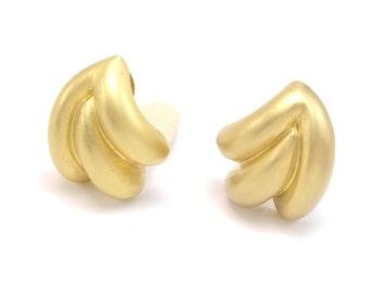 St. John Earrings, St. John Brushed Gold Earrings, Matte Gold Earrings, Designer Earrings