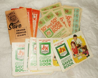 Vintage S & H Green and Orange Premium Stamps Savings Book Lot w/ Stamps