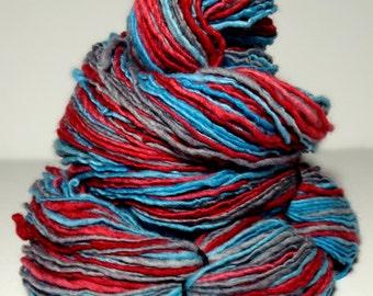 Handspun Yarn, Hand Dyed Yarn,  DK Weight Yarn, Merino Wool Yarn - Recharge - Single Ply Self Striping Yarn
