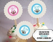 12 Cupcake Picks, Cupcake Topper Decorations, Baby Gender Reveal Party, Baby Shower, Pink & Blue Baby Owls