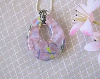 Soft Pink Dichroic Glass Pendant - Glowing Dichroic Glass Necklace - Fused Glass Jewelry for Her - 102-15