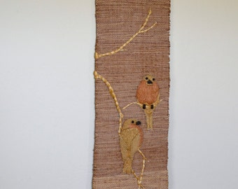 Vintage MEHER Jute Handwoven Wall Hanging Birds Made in India