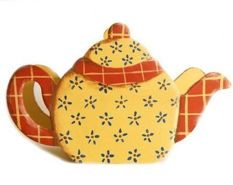 Teapot Piggy Bank - Hand painted Yellow teapot in Country Style