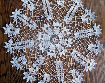 Large Hand Crocheted White Cotton Doily, Centerpiece Doily, Lacy Doily, Crochet Doily, parlor Table Doily Old Linens, Hand Made Doily