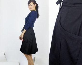 Black Friday SALE Nashville wrap skirt / Black cotton sateen skirt - office wear / fall winter fashion