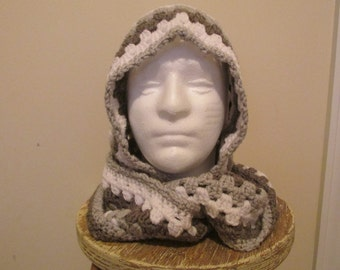 Scoodie Hooded Scarf in Dark Grey, Light Grey, and White -  Ready to Ship!