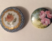 2 Antique Hand Painted Porcelain China Button with Rose Flower Design