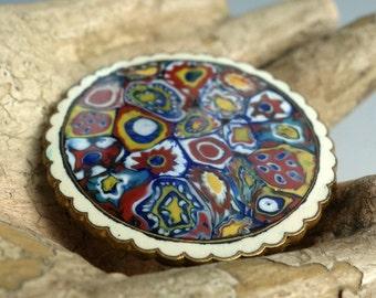 Vintage Czechoslovakia Millefiore Enamel Pin