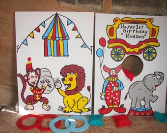 New 2  games  small    tent   and  wagon  circus  games with   4 rings  and  4  bean bags