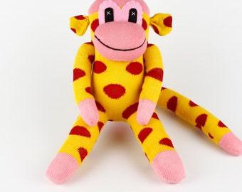 Christmas Gift Handmade Red Dots Yellow Sock Monkey Stuffed Animal Doll Baby Girls Toys Birthday New year Gift