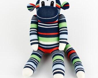 Christmas Gift Handmade Green Navy Striped Sock Monkey Stuffed Animal Doll Baby Toys Birthday gift