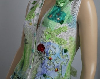 Art to wear Shabby chic  Hand knit Hand dyed Embroidered Beaded Blouse Sweater Vest Tattered   Collage Wearable Art Size M - L