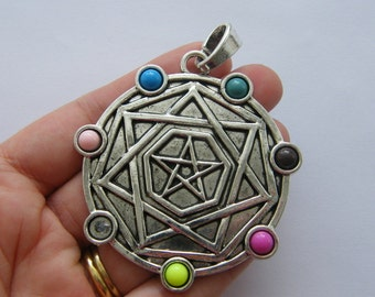 1 Chakra pentagram star pendant antique silver tone M704