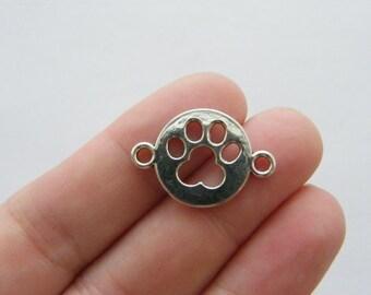 BULK 50 Paw print connector charms antique silver tone A463