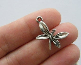 8 Dragonfly charms antique silver tone A321