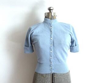 ON SALE 1950s Sweater / 50s Light Blue Sweater Blouse Cardigan