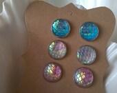 Mermaid Earrings,Mermaid Scales Earrings,Dragon Earrings,Scales Earrings,Summer,Mermaid Stud Earrings,Post Earrings,Cosplay Jewelry,Set of 3