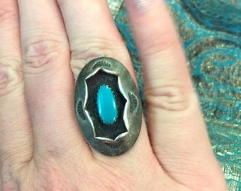 Turquoise Shadowbox Ring - Sterling Silver - Vintage