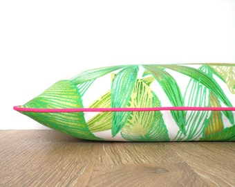 Tropical outdoor pillow case botanical print, palm leaf pillow cover for outside bench, green outdoor cushion pink piping, green lumbar case