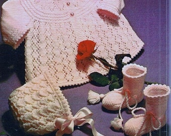 PDF Download - KNITTING PATTERN - Matinee coat Bonnet and Booties/Bootees chest 17 to 19 inch