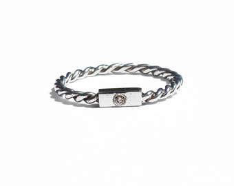 Twist Ring, Simple Jewelry, Fine Silver Jewelry, Sterling Silver Ring, Diamond Ring, Stacking Ring, Silver Stacking Ring, Thin Band
