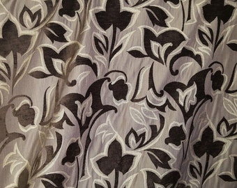 black tan CONTEMPORARY FLORAL on grey CHENILLE upholstery fabric hpme decor, 04-40-07-035
