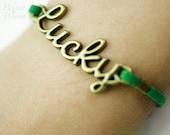LUCKY CHARM Bracelet --Green Good Luck Bracelet, Gold Word Spring Bracelet,  St. Patrick's Day Jewelry,  Lucky jewelry, spring gifts for her