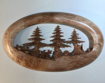 Pine Tree wood carving wall hanging best ever wood Christmas present by Gary Burns the treewiz