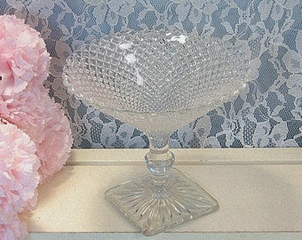 Hocking Miss America Crystal Footed Candy Compote Dish, Vintage Crystal Depression Glass, Glass Dinnerware, 1930's Antique Glass, Home Decor