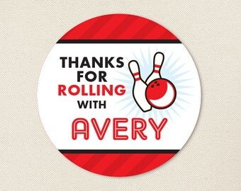 Bowling Party - Custom Favor Stickers - Sheet of 12 or 24