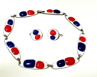 Modernist Enamel on Copper Necklace with Earrings Kay Denning Patriotic Red White and Blue 60s 70s