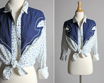Vintage Floral Ditsy Western Cowgirl Shirt - Button Up Woven Southwest Country Flowers Navy Blue Long Sleeve Rodeo Cowboy - Size Large