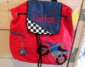Personalized monogram boy dirt bike Stephen Joseph quilted drawstring backpack,diaper bag,baby shower gift,birthday gift