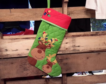 Christmas stockin//Personalized Christmas stocking//Stephen Joseph quilted Christmas stocking