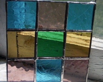 Stained Glass Square, Suncatcher, Postage Stamp Quilt