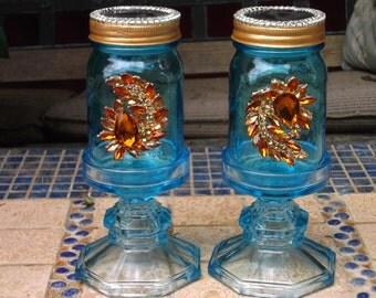 Crystal & Bedazzled Solar Mason Jars