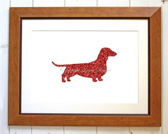 Red Glitter Dachshund Instant Download Art Print Wall Art Typography Poster Dog Silhouette Nursery Art Childs Room Printable Puppy Decor