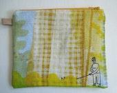 Original design hand sewn springy dogwalk design zipper bag
