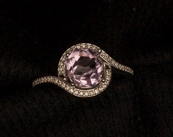 14kt Gold Rose de France Amethyst & Diamond Halo Unique Gemstone Engagement Ring, Birthstone Ring, Amethyst Ring, Fwbruary Birthstone