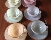 Vintage Arcopal French Opalescent Harlequin Teacups & Saucers Set of 6