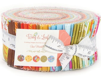 """Wing and Leaf Jelly Roll by Gina Martin for Moda Fabrics 10060JR 40 2.5"""" x 42"""" Fabric Strips"""