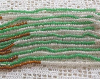 Vintage Beads Green White & Topaz 11 Strands
