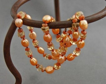 Tamarind - pearl necklace, gemstone necklace, OOAK, Sunset, citrine, sunstone, gemstone necklace, for her, cruise, gift idea