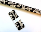 Door draft stopper, black cream floral, door snake, up to 44 inches, draft dodger, draft guard, home decor, energy saver